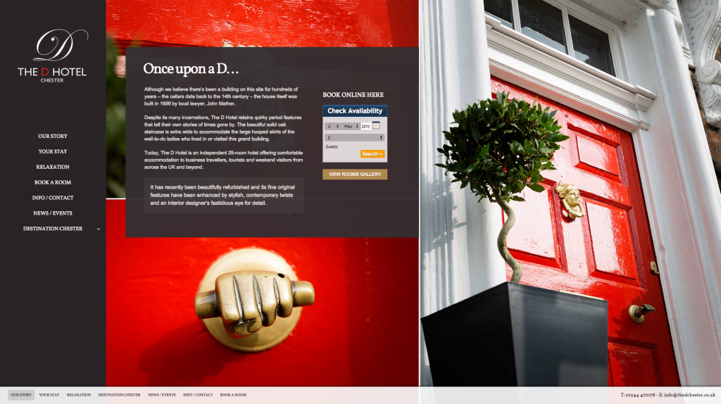 website design for the d hotel chester